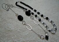 VINTAGE TO NOW BLACK & CLEAR LUCITE BEADED SILVER TONE NECKLACE LOT