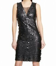DKNY Women's Dress Black Size 4 Sheath Square-Sequins Illusion $159 #126