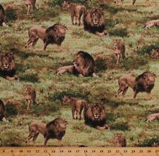Lions Wildlife Animals African Safari Scenic Cotton Fabric Print by Yard D482.22