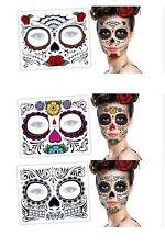 2 Day Of The Dead  Dia de los Muertos Face Mask SUGAR SKULL NEW TATTOO Halloween