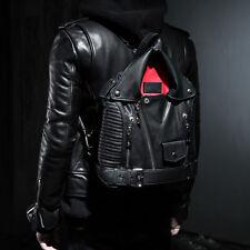 BytheR K-Pop Fashion Black Modern Faux Leather Jacket Form Soft Bag Backpack