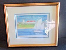Watercolor Prin Sailing off Chatham Light R. E. Kennedy Framed Signed Cape Cod