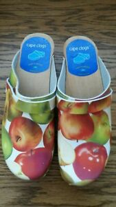 Cape Clogs Made In Sweden Women's Apples Fruit Shoes Wooden 35 US 5 Clog