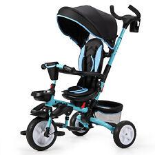 6-in-1 Kinderdreirad  Kinder Dreirad mit Schubstange Kinderwagen Klapppedal