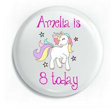 Personalised Unicorn Pink Girl Happy Birthday Unique Metal Pin Badge