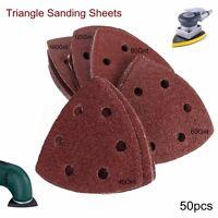 50x Delta Sanding Sheets Discs 40-180 Grit Triangle Sander Grinder Paper Pads