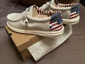 Hey Dude Shoes Men's Wally Patriotic American Flag Off-White Red Blue Size 12