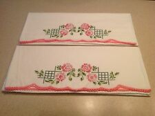 Vintage Embroidered Flowers Floral Pillowcases Set of 2 Pink Flowers/ Greem Leaf
