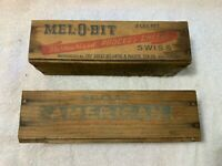2 Antique Wooden Melobit Mel-o-bit Cheese Boxes American and Swiss Barn Find
