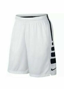 Nike Mens Dry-fit Elite Stripe Basketball Shorts AT3393-100 White Black.Size 2XL