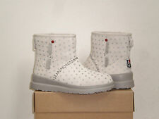 UGG I Heart Kisses Mini Boot 5US (fits Girl 3) Silver Hearts Suede NIB $119 MSRP