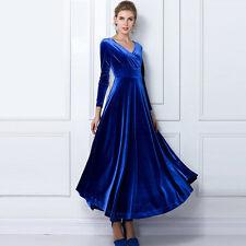Women V-Neck Velvet Dress Winter Tunics Robes Long Shirt Maxi Dress Plus Size