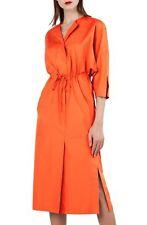 New Akris Orange Kimono Sleeve Cotton Poplin Drawstring Waist Dress Size 10
