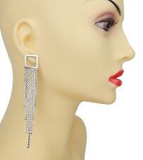Silver Rhinestone Glitter Party Studs Ella Jonte Long Statement Earrings