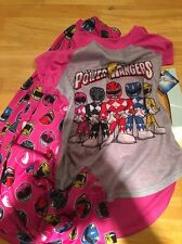 Mighty Morphin Power Rangers Girls Pink Pajamas Size Large Yellow Pink Red Youth