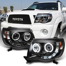 For Black 2005-2011 Toyota Tacoma LED Halo Projector Headlights lamps Pre Runner