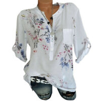 Women Button Neck Floral Roll Up Sleeve Shirt Blouse Summer Casual Top Plus Size