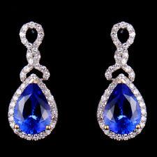 Natural AAA Pear Blue Tanzanite Diamond Gemstone Drop Earrings 14K White Gold