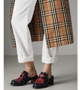 Burberry English Icons Fringes Beckshill Block Heel Mule size 38.5 8.5 NEW $680