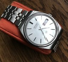 Men's Genuine Seiko SQ Vintage Sport Day Date Watch Classic Silver 7546-8200