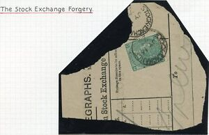 1867-1898 SUPERB 1/- Stock Exchange Forgery pl.5 lettered DH