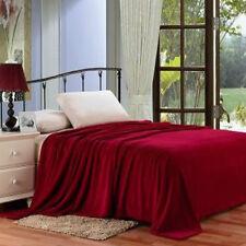 Solid Burgundy Blanket Bedding Throw Flannel Full Queen Super Soft Dark Red