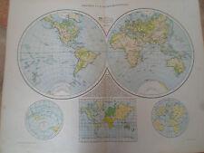 Antiguo Cuadro Western + oriental hemisferios ~ tomado de la Atlas Universal 1893