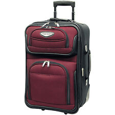 """Traveler Choice Red Amsterdam Carry-on 21"""" Expandable Wheel Luggage Suitcase Bag"""