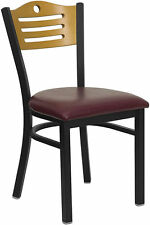 NEW RESTAURANT METAL CHAIRS Wood Back BURGUNDY PADDED SEAT, They Last Forever