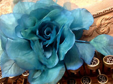 "VINTAGE silk organza 7"" TURQUOISE  ROSE CZECH FLOWER 1pc HAND WRAPPED"