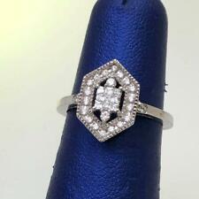 Women's Sterling Silver .925 Cz Cluster Elegant Ring Marquise Shape Fancy Size 7