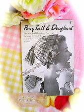 Vintage Knitting Pattern 1950s 3 Hour Hats! 2 Styles; Pony Tail & Doughnut!