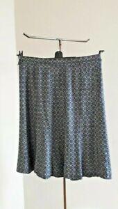 """M&S CLASSIC skirt 14 blue floral textured linen mix waist 35"""" length 27"""""""
