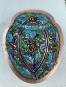 """Antique Chinese Export Silver Blue Enamel Snuff Box Compact 3 1/2"""" Scarab Shape"""