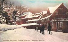 A75/ Pocono Manor Inn Pennsylvania Pa Postcard c1915 Hand-Colored Winter Skiing