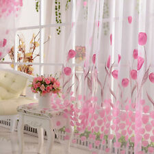 Pink Floral Curtain Door Window Room Drape Divider Totem Sheer Valance for Girls