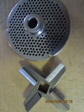 """HOLLYMATIC #32/#42 GRINDER PLATE 1/8"""" HOLES 5/8 THICK W/ HARD EDGE KNIFE"""