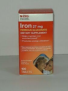 CVS Health Iron 27mg Ferrous Gluconate 100 Tablets,  Box Sealed Exp 01/2022