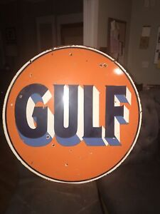"""Gulf Oil 30"""" Double Sided Porcelain Sign"""