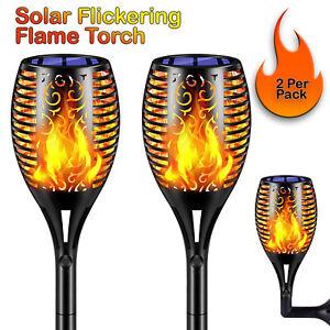 2 x Premium 96 LED Flickering Flame Waterproof Torch Solar Light Dancing Flame