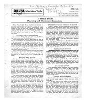 """Delta Rockwell No. 14-007 & No. 14-207 14"""" Drill Press Manual Instructions"""