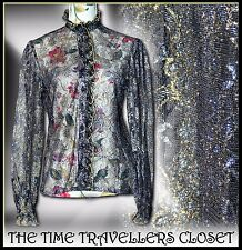 VTG 70s BLACK GOLD SILVER LACE GOTHIC VICTORIAN STEAMPUNK RUFFLE BLOUSE UK 10 12