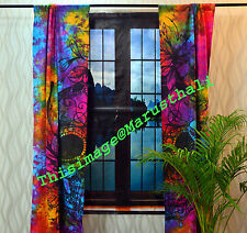 Indian Tie Dye Curtain Cotton Hippie Tapestry Decor Window Curtains Wall Hanging