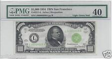 1934 $1000 FRN SAN FRANCISCO # 00000008 PMG-40 EXTREMELY FINE LOW SERIAL #8 NOTE