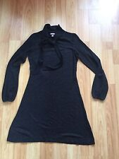 H & M Ladies Black/grey Bow Detail  Tunic Dress Size eu 36