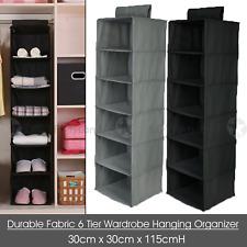 6 Tier Hanging Wardrobe Organizer Folding Storage Clothes Hanger Closet Shelf