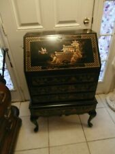ANTIQUE/VINTAGE 1950 MADDO0X GILTCHINOISERIE HAND PAINTED SECRETARY DESKWITH KEY