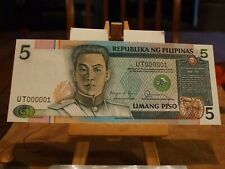 1985 PHILIPPINES 5 PESO NOTE,SERIAL#000001,GEM CU,VERY COLORFUL,GREAT EYE APPEAL