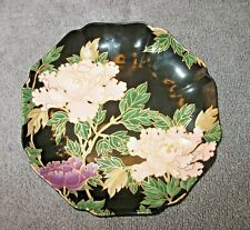 SUPER RARE FITZ AND FLOYD CLOISONNE PEONY BLACK - COOKIE PLATE MINT COND #126997