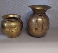 2 Vintage Brass Vase with Rope Tassels